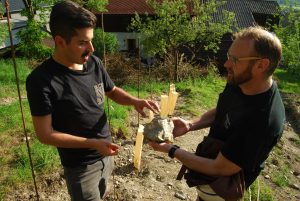 Die Winzer Georg und Walter im Weingarten. Der Boden ist mineralisch höchst interessant. Davon wird laut Georg Heinrich der Wein profitieren.